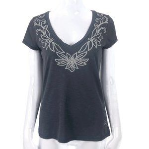 Banana Republic Gray Neck Embroidered T Shirt Sm